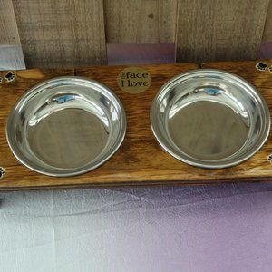 Other - New Dog Pet Food Water Dish Wood Handcrafted